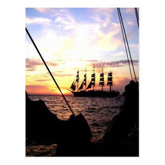 Sailing to goal and success postcard