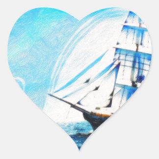 sailing to turqouise horizons heart sticker