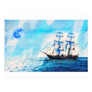 sailing to turqouise horizons postcard