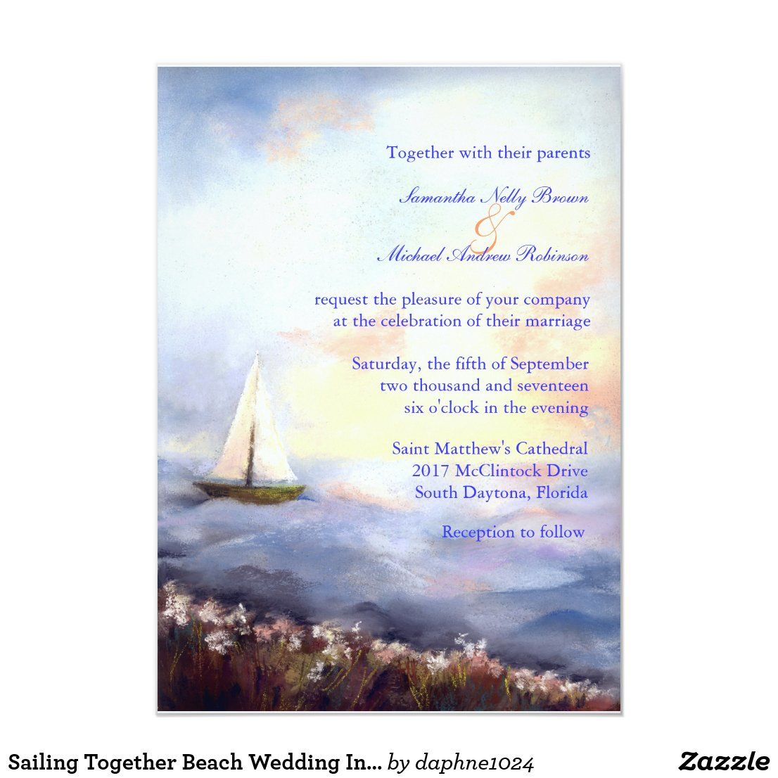 Sailing Together Beach Wedding Invitation
