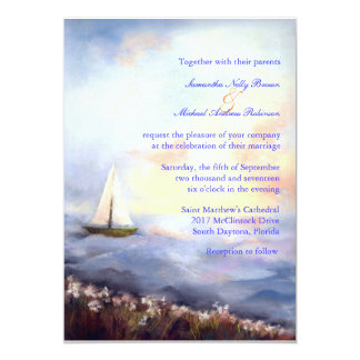 "Sailing Together Beach Wedding Invitations 5"" X 7"" Invitation Card"