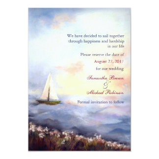 Sailing Together: Save the Date Beach Wedding 5x7 Paper Invitation Card