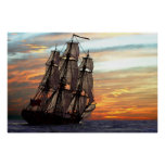 sailing towards sunset poster