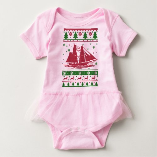 Sailing Ugly Christmas Baby Bodysuit