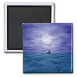 Sailing Under The Moon 2 Inch Square Magnet