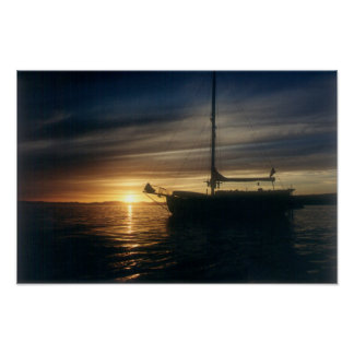 Sailing Vessel Tranquility Base at anchor Poster