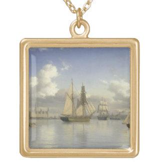 Sailing Vessels off Kronborg Castle, Sweden, 1880 Gold Plated Necklace