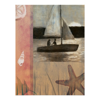 Sailing with sunset poster