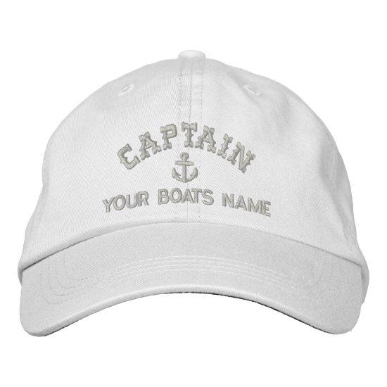 Sailing yacht captains embroidered baseball cap