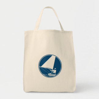Sailing Yachting Circle Icon Grocery Tote Bag