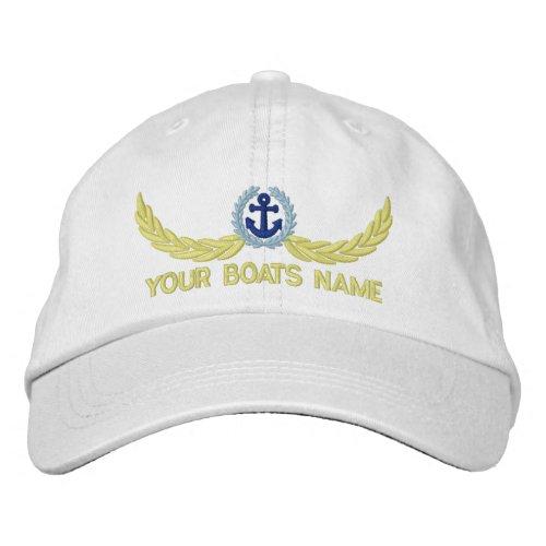 Sailing yachts name boat captains embroidered baseball cap