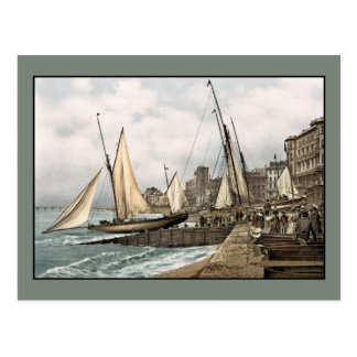 Sailing yachts ready to leave, Hastings, England Postcard