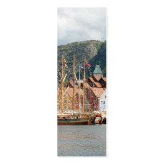 Sailingships at Bryggen Bookmark Double-Sided Mini Business Cards (Pack Of 20)