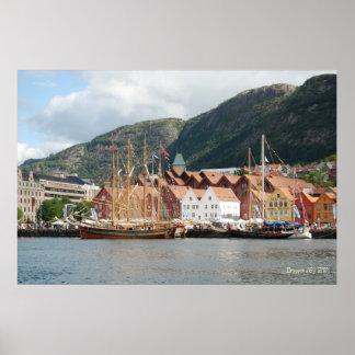 Sailingships at Bryggen Poster