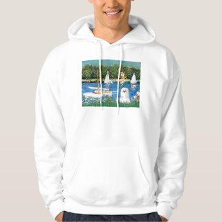 Sailoboats - Shih Tzu (white Hooded Sweatshirt