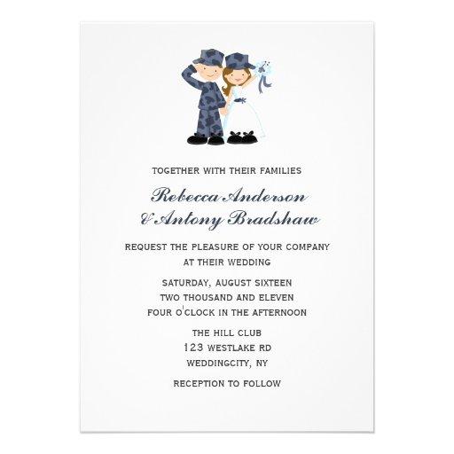 Sailor and Bride Wedding Invitations