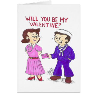 Sailor and girl valentine greeting card