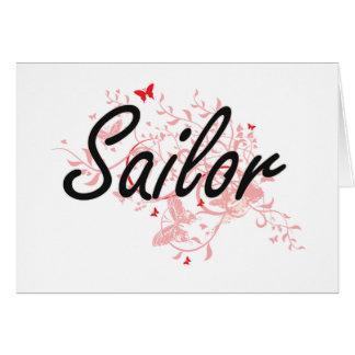 Sailor Artistic Job Design with Butterflies Card