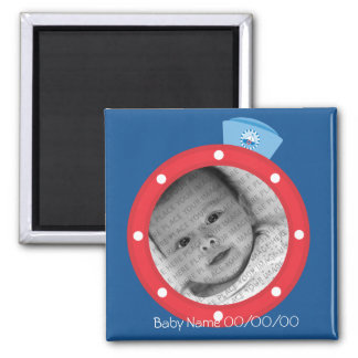 Sailor baby Announcement 2 Inch Square Magnet
