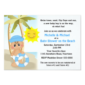 Sailor Baby on the Beach Baby Shower Card