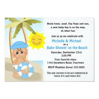 Elegant Sailor Baby On The Beach Baby Shower Card