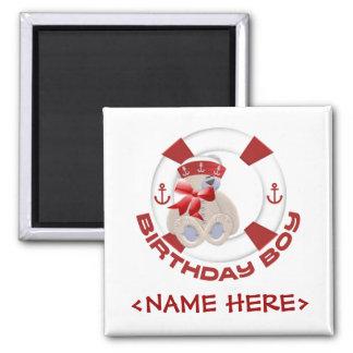 Sailor Bear Birthday Boy 2 Inch Square Magnet