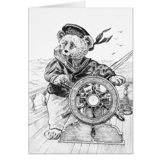 Sailor Bear Sam Steering Ship at Sea Greeting Card