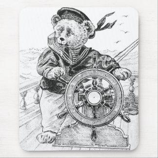 Sailor Bear Sam Steering Ship at Sea Mouse Pad