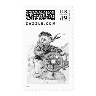 Sailor Bear Sam Steering Ship at Sea Stamp