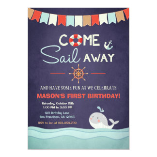 Sailor Birthday Invation Come Sail Away Nautical Card