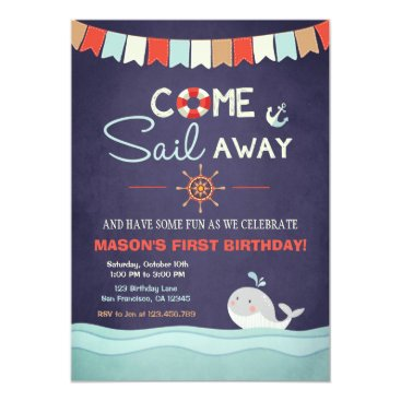 Anietillustration Sailor Birthday Invation Come Sail Away Nautical Card