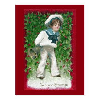Sailor Boy and Bell Vintage Christmas Postcard