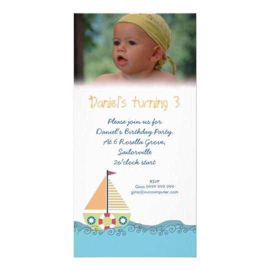 Sailor Boy Birthday Party Invitation Photocard