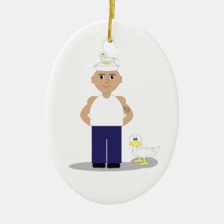 Sailor & Ducks Ceramic Oval Decoration
