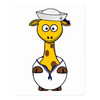 Sailor Giraffe Cartoon Postcard