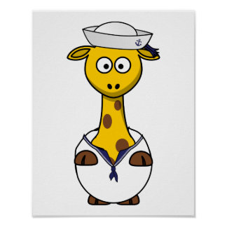 Sailor Giraffe Cartoon Poster