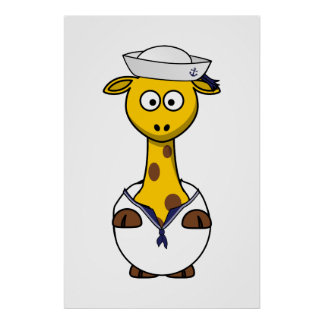 Sailor Giraffe Cartoon Posters