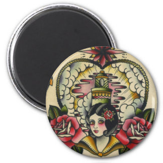 sailor girl 2 inch round magnet