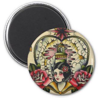 sailor girl 2 inch round magnet