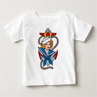 Sailor Girl and Anchor Tattoo Art Baby T-Shirt