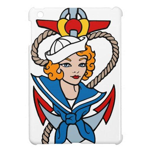 Sailor Girl and Anchor Tattoo Art iPad Mini Cover