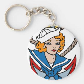 Sailor Girl and Anchor Tattoo Art Keychain