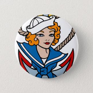 Sailor Girl and Anchor Tattoo Art Pinback Button