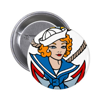 Sailor Girl and Anchor Tattoo Art Pinback Button