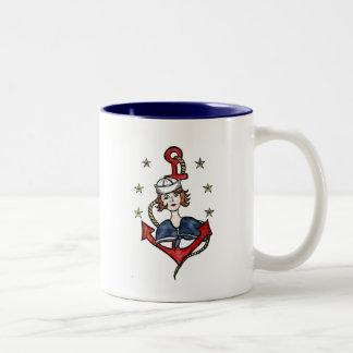Sailor Girl Two-Tone Coffee Mug