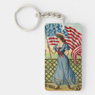 sailor girl - vintage nautical patriotic art keychain