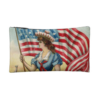 sailor girl - vintage nautical patriotic art makeup bag