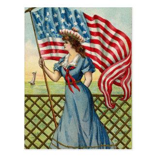 sailor girl - vintage nautical patriotic art postcard