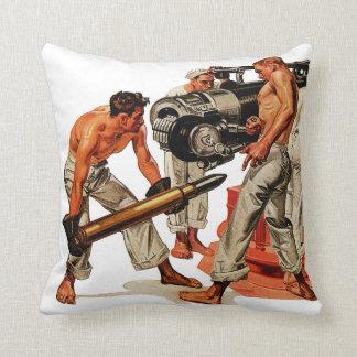 Sailor Hunks Loading the Big Gun Throw Pillow
