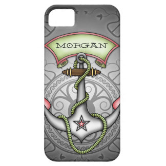 Sailor Jerry Tattoo Anchor Green Personalize iPhone 5 Cases